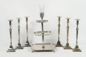 Art Deco Silver Plate Dumbwaiter & Candlesticks
