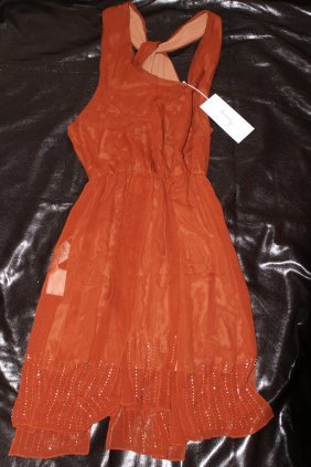 $575 HANII Y 100% SILK BEADED ACCENT DRESS...SIZE 40