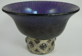 Anthony Stern Iridescent Amethyst Glass Bowl