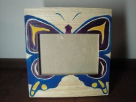 Native Hand Carved And Painted Photo Frame