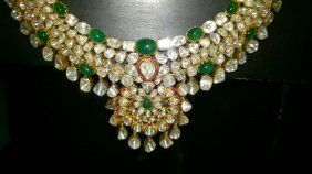 Antique Natural Uncut Diamond & Emerald Necklace Set
