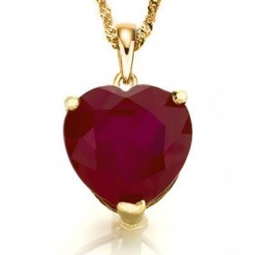Natural African Heart Ruby Solid Gold Pendant