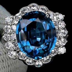 Stunning London Blue Topaz 6.80 Cts & Sapphire Ring