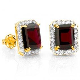 Natural Persian Red Garnet & Diamond 4.45 Ct Earrings