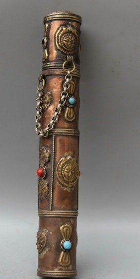 Antique Tibet Buddh Royal Message Tube With Jade & Gems