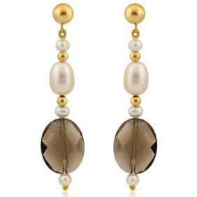 Smoky Topaz ( Carats & Fresh Water Pearl Earrings