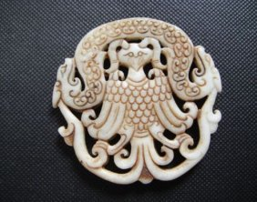 Old China White Jade Hand Dragon And Phoenix Pendant