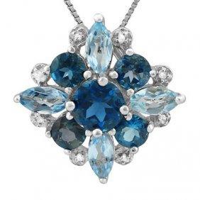 Natural London Blue Topaz, Diamond & Blue Topaz Pendant