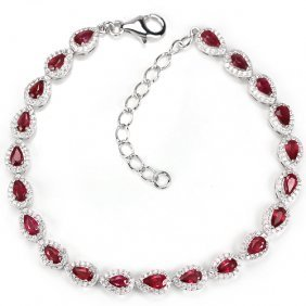 Natural Pear Shape Ruby Bracelet