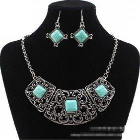 Retro Blue Turquoise Necklace Earrings Set
