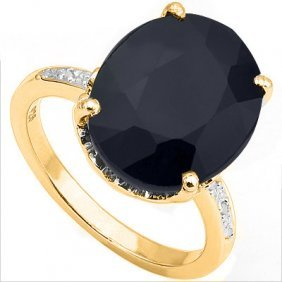 Natural Black Sapphire & Diamond 9.2 Carats Ring