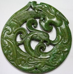 Antique Green Jade Dragon Pendant