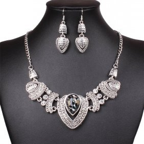 Tibet Silver Tribal Heart Love Pendant Necklace Earring