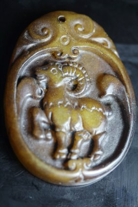 Old Chinese Jade Hand Carved Goat Pendant
