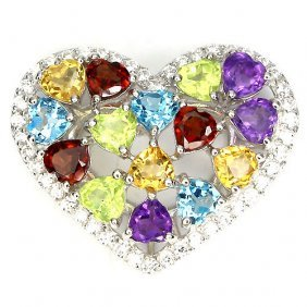 Natural Multi Gem Hearts Pendant