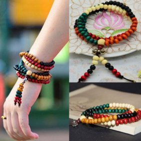Natural Colorful Wood Buddhist Prayer Beads