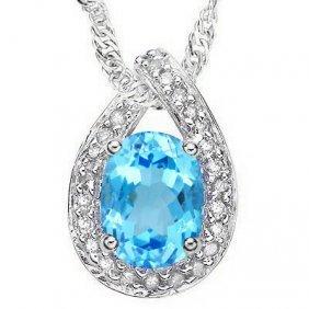 Natural Blue Topaz & Diamond Pendant