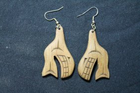 West Coast Native Hand Carved Killer Whale Earrings