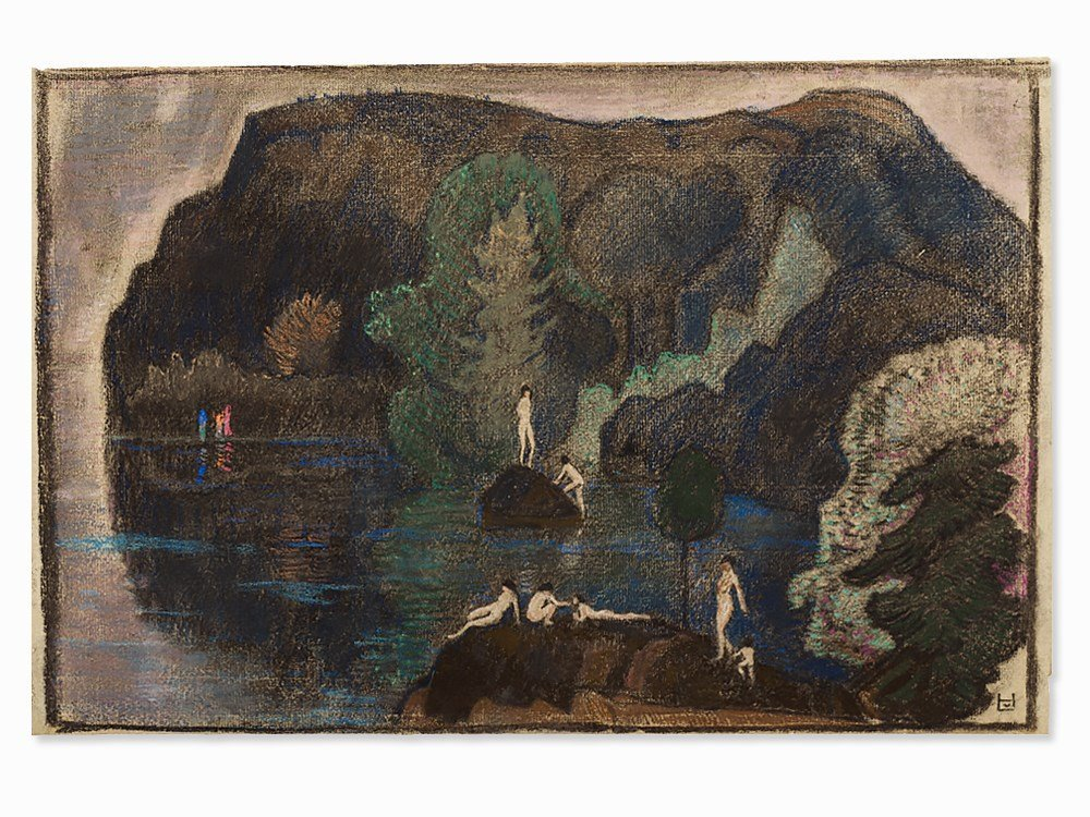 """Bathers at a Lake"" by Ludwig von Hofmann"