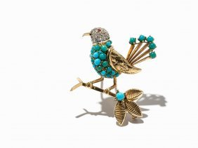Boucheron, Bird Brooch With Turquoises, Gold/platinum,