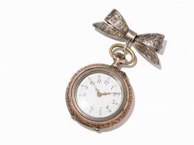 Small Art Deco Women's Pocket Watch With Pin, Around