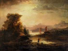 Dutch School, River Landscape With Fisher Boats, Around