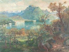 Giacomo Varese, Oil Painting, Lake Geneva, Italy,