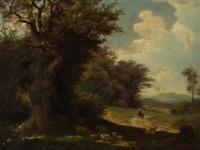 A. Arnold, Romantic Landscape, Oil Painting, Germany,