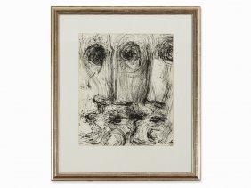 Alexander Schawinsky, Ink Drawing, Skull, 1950s