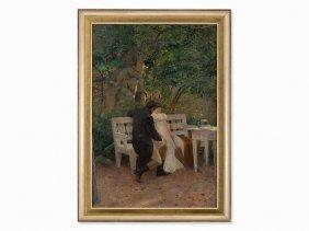 Paul Segisser, Couple In The Park, Oil Painting,