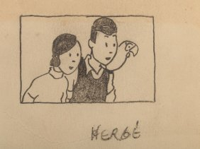 "Pencil Drawing, ""dropsy"", By Hergé, 1938"
