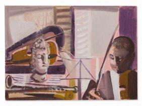 Edvard Frank, Gouache, The Violin Player, Germany,