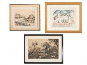 2 Prints And 1 Brush Painting, China, 17th-20th Century