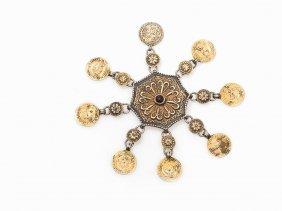 Turkmen Silver Boys Cap Amulet With 8 Pendants, 19th C.
