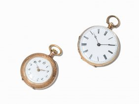 Two Lady's Pocket Watches Of 14k Gold, Switzerland, C.