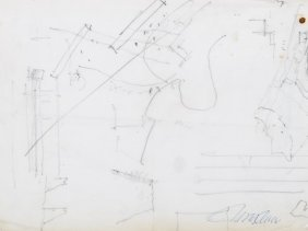 Pencil Drawing, Architectural Plan, Pres. Switzerland,