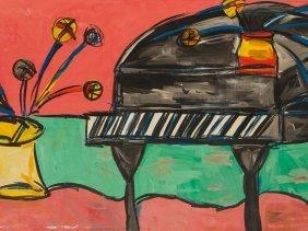 Peter Keil, Large Painting, 'flügel Mit Blumen',