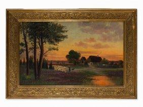 J. Schrader, Heath Landscape With Farm & Sheep Flock,