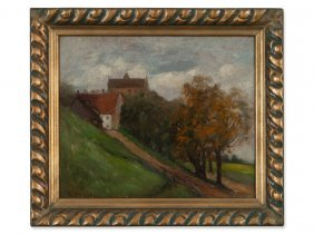 Rudolf Petuel, Oil Painting, 'summer Landscape', Early