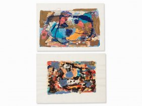 Hans Böttcher, 2 Mixed Media, Abstracts, C. 1960s