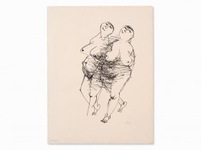 Gustav Seitz, Lithograph, 2 Female Nudes, Germany, Ca.