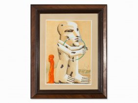 Horst Antes, Color Lithograph, Spotted Figure With