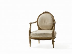 Paris Armchair In Louis Xvi Style, Gold Painted, 20th