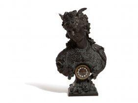 Art Nouveau Figural Mantle Clock 'time Is Money', Paris