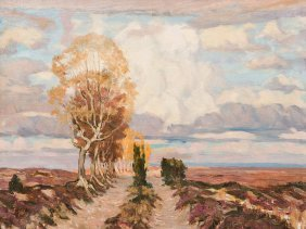 Carl Jörres, Painting, Country Road In The Luneburg