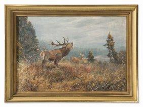 Willi Lorenz (1901-1981), Brunftmorgen, Oil Painting,