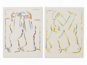 Horst Antes, Figures, 2 Lithographs In Colors, 1966