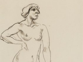George Grosz (1853-1959), Female Nude, Charcoal,