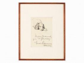 Ernst Liebermann, Sleeping Dog, Drawing, 1st Half 20th