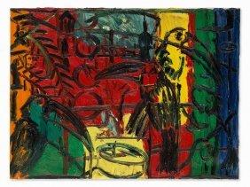 Hunt Slonem (b. 1951), Untitled (birds), Oil Painting,